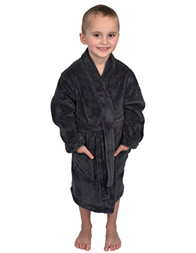 TowelSelections Big Boys' Robe, Kids Plush Kimono Fleece Bathrobe Size 8 Charcoal