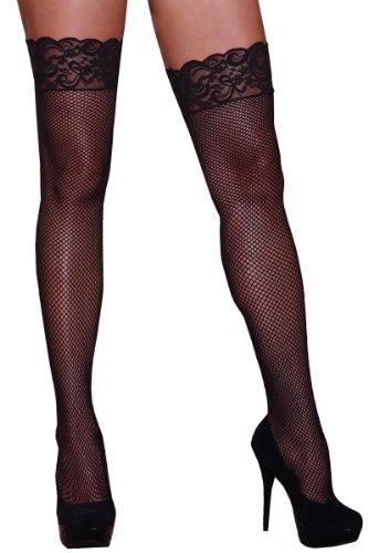 Plus Size Hosiery Lingerie Lace Top Fishnet Thigh High Stocking (Plus Size Fishnet Stocking With Lace Top)
