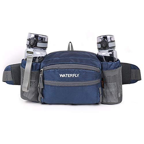 (Waterfly Fanny Pack with Water Bottle Holder Unisex Hiking Waist Packs for Walking Running Lumbar Pack fit for iPhone iPod Samsung Phones (Sapphire Blue))