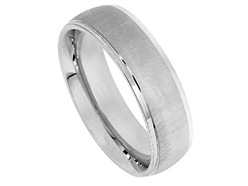 Men's 18k White Gold Satin Finish 6mm Comfort Fit Wedding Band Ring size 9.75 975 Wedding Bands Ring