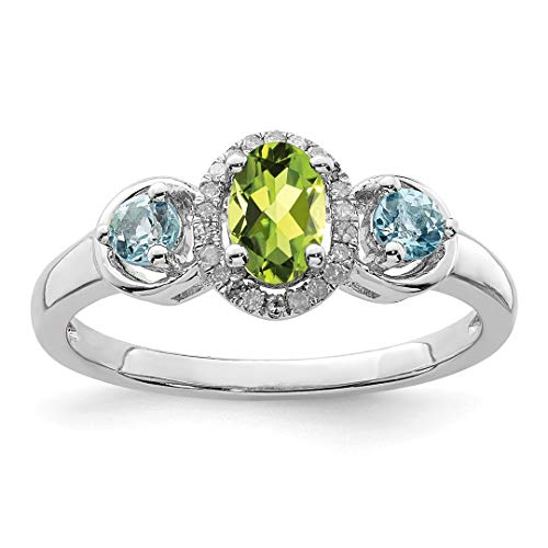 (925 Sterling Silver Green Peridot Blue Topaz Diamond Band Ring Size 7.00 Gemstone Fine Jewelry Gifts For Women For)