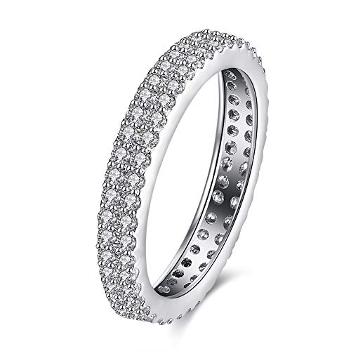 Clear Double Stone Row - Hope Collection 3mm Infinity Double Row Clear Stone 18K White Gold IP Plated Stainless Steel Engagement Wedding Band Ring (6)