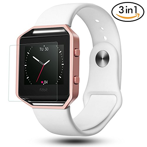 For Fitbit Blaze Bands 3 in 1 Watch Wristband Strap Soft Silicone Replacement, Protective Case Cover Rose Gold Frame with Screen Protector,Smart Fitness Watch Classic Bracelet for Men Women, White