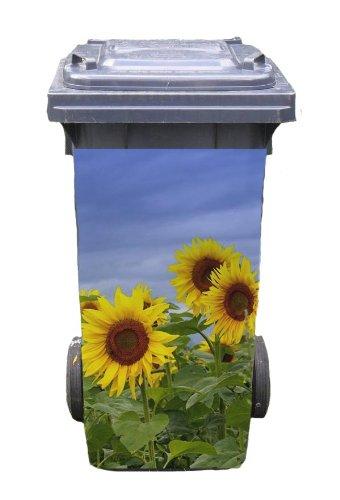 Mülltonnen-Aufkleber Motiv Sonnenblume 37 cm x 82 cm für 240 l Tonne
