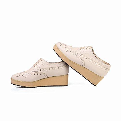 Schouderveter Dames Lace Up Retro Vintage Mode Comfort Sleehak Oxford Schoenen Beige