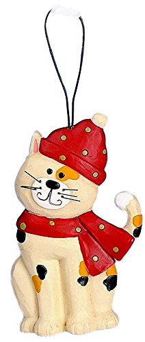 Blossom Bucket Christmas Calico Cat Wearing a Red Hat & Scarf Resin Ornament #3 (Scarf Calico)