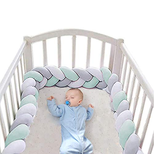 Baby Crib Bumper Plush Nursery Cradle Decor Knotted Braided Junior Bed Sleep Safety Bedside Padded Plush Cushion for Newborn Gift (118 inch)
