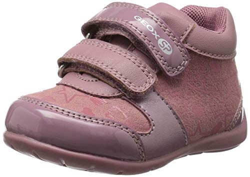 Geox Elthan Girl 1 High Top Velcro Shoe Sneaker, Pink/Dark Grey, 24 Medium EU Toddler (8 US) - Geox Toddler Shoes