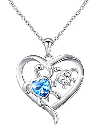 Mom and Baby Turtle Cubic Zirconia Heart Pendant Necklace Sterling Silver Mother's Day Gift,18''