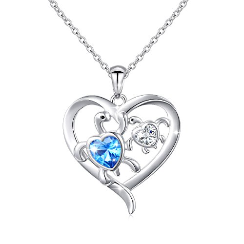 (Ladytree Sterling Silver Mom and Baby Design Turtle Necklace Cubic Zirconia Heart Pendant Women Jewelry,18'')