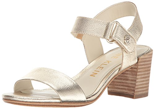 Anne Klein Women's Jackie Leather Heeled Sandal, Light Gold, 10 M - Leather Anne Klein Slingbacks
