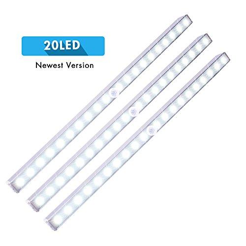LED Closet Lights, Cshidworld Wireless 20-LED Motion Sensor Under Cabinet Light Battery Operated Night Lighting Bar(3 Pack)