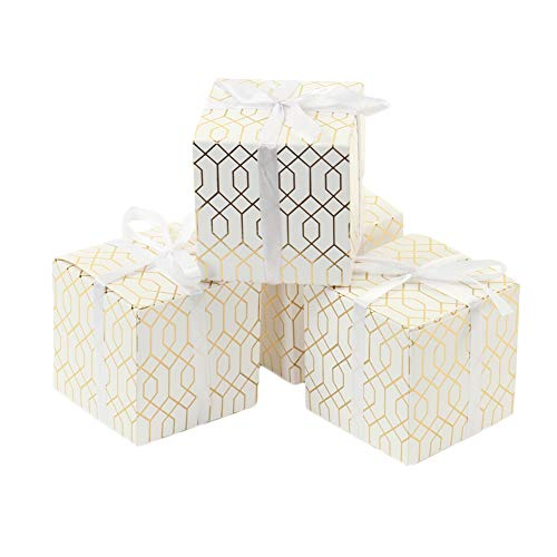 Andaz Press Gift Favor Box Gold Foil, Geometric Hexagon Pattern Favor Box with Ribbon, in Bulk 25-Pack, Modern Party Favor Gift Box 3 x 3-Inch for Wedding Favors, Birthday, Baby Shower]()