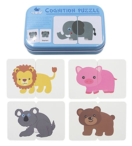 BabyPrice 32pcs Anti-tear Flash Cards Learning Alphabet Puzzle Cards, Jigsaw Shape Matching Puzzle Cognitive Early Educational Learning Toys with Mental Storage Box (animals)