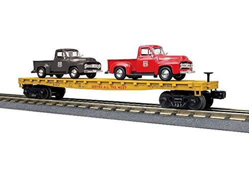 UP FLAT W. 2 -53 FORD PICKUPS (Pacific Flat Car Union)
