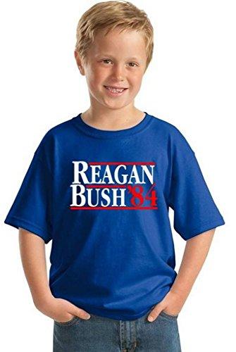 Youth Reagan Bush`84 T-shirt Gift For Kids Presidential Campaign Vintage Shirt M Blue