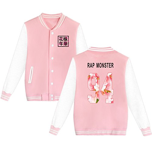 Childs Show Coat - BTS Baseball Jacket Uniform Bangtan Boys Suga Jin Jimin Jung Kook Sweater Coat XL Pink Rap-Monster