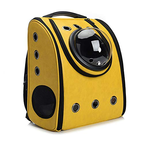 ANXUAN Portable Travel Pet Carrier Backpack,Space Capsule Bubble Design,Waterproof Handbag Backpack for Cat and Small Dog,Airline Approved Pet Backpack Carrier (Yellow)