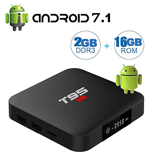 Android TV Boxes Update Version T95 S1 Android 7.1 box with 2GB DDR 16GB ROM Amlogic S905W Quad Core A53 Processor 32 Bits GPU Mail 450 Real 4K Playing Full HD/H.265/2.4GHz WiFi Smart TV Boxes