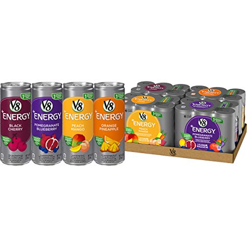 V8 +Energy Variety Pack Healthy Energy Drink, Pomegranate Blueberry, Orange Pineapple, Peach Mango, Black Cherry, 8 Oz Can (4 Packs of 6, Total of 24)