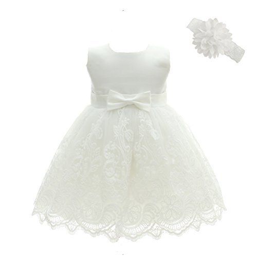 (Moon Kitty Baby Girls embroideries Baptism Dresses Christening Special Occasions Gown For Baby Girl White 12M(10-14Months))