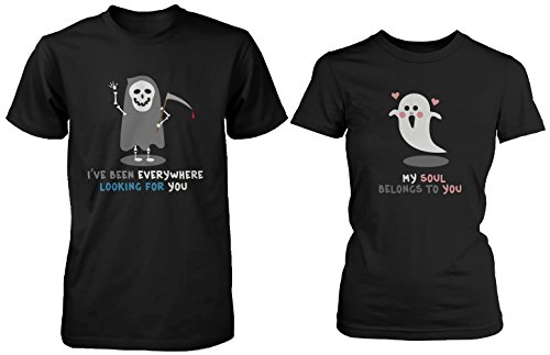 Halloween Matching Couple Shirts - Cute Skeleton and Ghost Couples ()