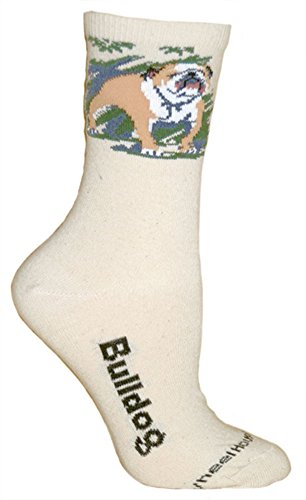 Bulldog on Cream Ultra Lightweight Stretch Cotton Crew Socks One Size Fits Most