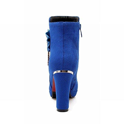 Tacco Alto Da Donna Con Tacco Alto In Pelle Con Zeppa Applique Carolbar Blu
