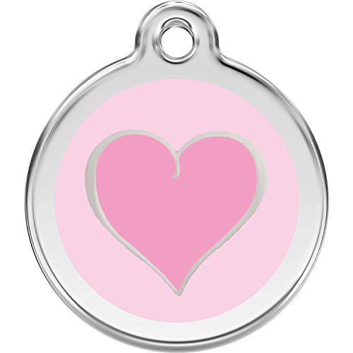 Red Dingo Personalized Pink Heart Pet ID Dog Tag (Small)