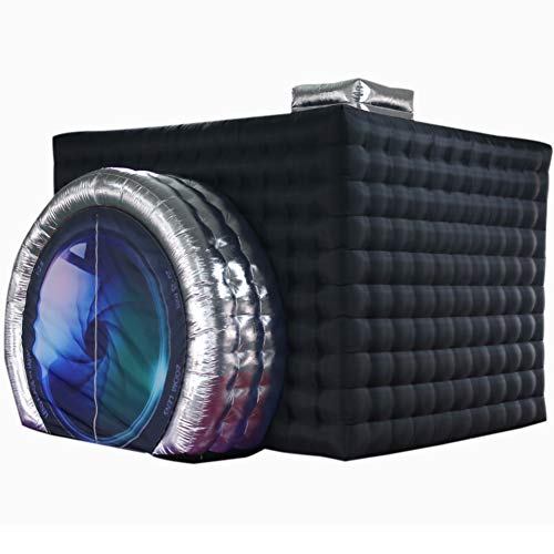 SAYOK Inflatable Photo Booth Enclosure(External Black & Internal White, 11.5×9.2×8.2ft) Camera Shaped Inflatable Cube…