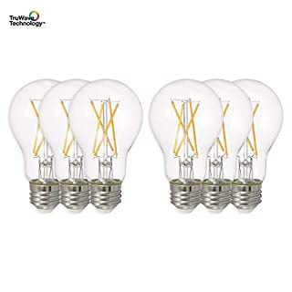 SYLVANIA General Lighting 40807, Soft White SYLVANIA LED A19 Natural Light Series, 75W Equivalent, Efficient 11W, Dimmable, Clear Finish, 2700K Color Temperature, 6 pack