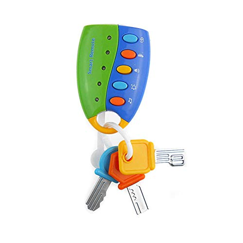 Musical Toys Remote Key, Pretend Play Toy Car Key Keychain with Light and Sounds, Funky Toy Educational Toy for Baby, Toddler and Kids - Key Musical