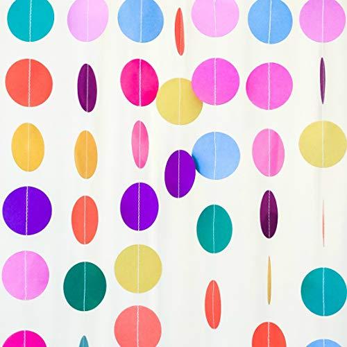 Bobee Rainbow Paper Garland 70 feet 5 Strands Party Decorations Girls Birthday Fiesta Streamers ()