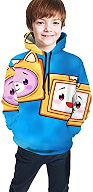 P PIPIGOU Lankybox Merch Lankybox Boxy Stylish Unisex Hoodies for Kids 3D Prints Sweatshirts Pullover with Poc