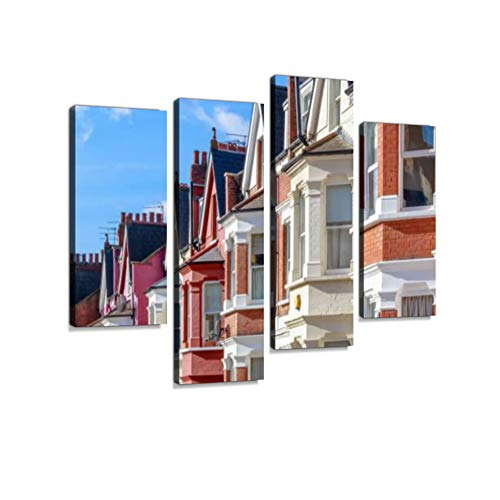 (Typical English terraced Houses in West Hampstead, London Canvas Wall Art Hanging Paintings Modern Artwork Abstract Picture Prints Home Decoration Gift Unique Designed Framed 4 Panel)
