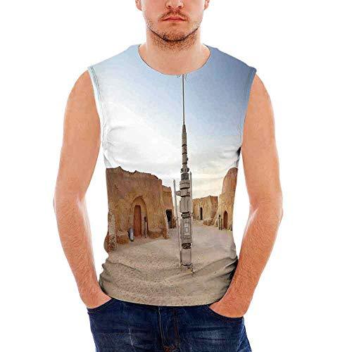 (Mens Workwear Galaxy Sleeveless Midweight T- Shirt,Image of Fantasy Movie Set to )