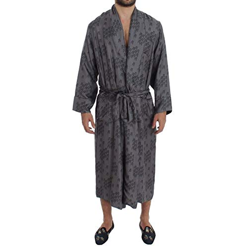 Dolce & Gabbana Gray Blue Chair Print Silk Robe Coat (Dolce & Gabbana Print Coat)