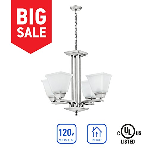 IN HOME 4-Light CHANDELIER CH37, Brushed Nickel Finish with Satin Etched Glass Shade, UL listed (56 Antique Finish Nickel)