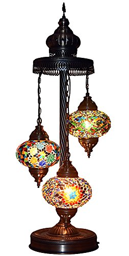 Turkish Moroccan Mosaic Glass Handmade Tiffany Floor Lamp Light, 29.5'' (Multicolor) by BOSPHORUS