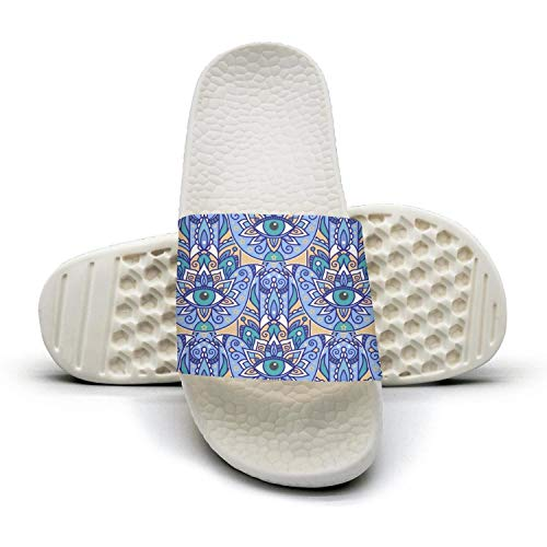 - sedoied Unisex Slides Sandals Oriental Motif Abstract Eye Plant Pattern Blue Water-Resistant Foam Athletic Slide Sandal