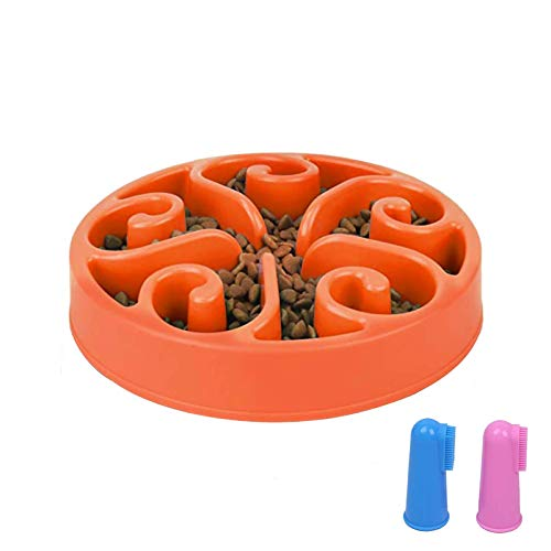 GRULLIN Slow Feeder Maze Dog Bowl Prevent Choking Indigestion Interactive Non-Toxic Eco-Friendly Puzzle Dish Spiral Design Non-Skid Base pet Bowl for Dogs