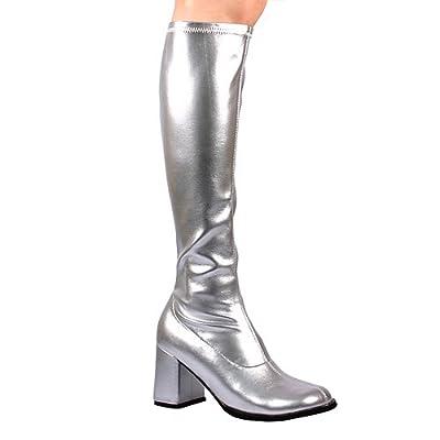 "GOGO-300 3"" Knee Boot, Silver Stretch Pu-Size 9"
