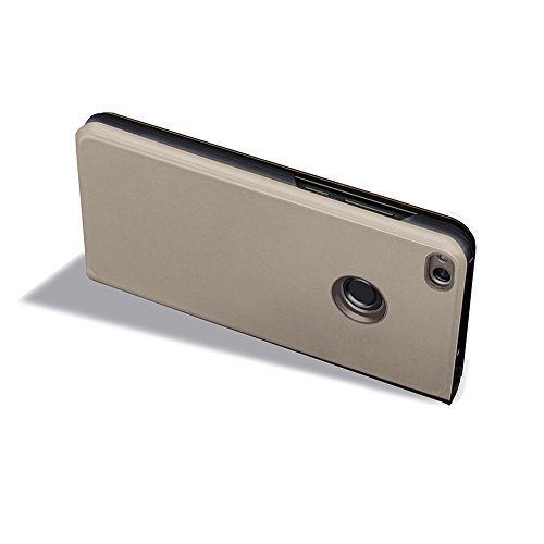 Funda Huawei P8 Lite 2017, Visión Clara Pie Smart Cover Soporte Mirror Protección Completa Rígida Borde ,Sunroyal Multifuncional Cubierta del espejo Permite ver Claramente la Clear Standing Flip Cover Oro