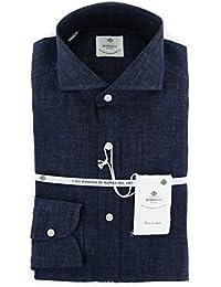 New Luigi Borrelli Midnight Navy Blue Melange Extra Slim Shirt