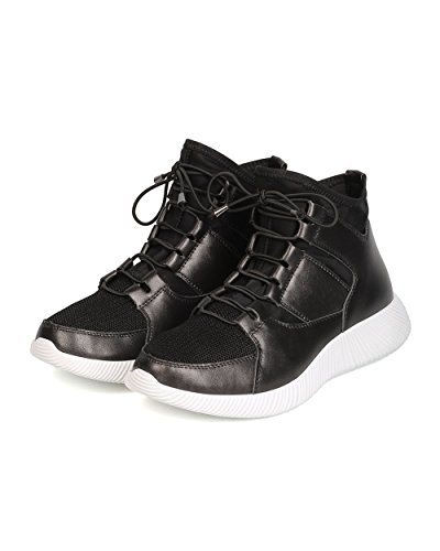 Qupid GK58 Women Leatherette Thick Sole Elastic Lace Up High Top Sneaker - Black 3B7Ui