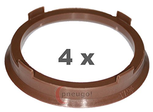 4  x Anillo Central plá stico 67.1  mm a 57.1  mm marró n Pneugo