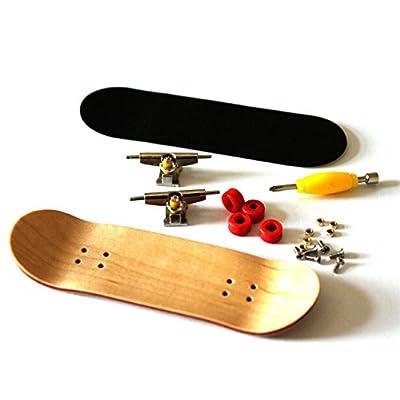 RemeeHi Professional Maple Wooden Fingerboard Skateboards Metal Nuts Trucks Basic Bearing Red Wheel: Toys & Games