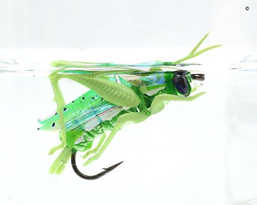 YZD Realistic Hopper Dry Fishing Flies Set of 12 Flies 3 Colors Grasshopper Fly Fishing Lure For Trout Pike Carp Flyfishing