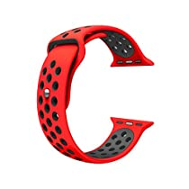 For Apple Watch Band, Wearlizer Soft Silicone Sport Replacement Strap for both Series 1 and Series 2 - 42mm Red and Black, Size L