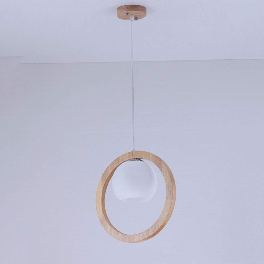 Mogicry Japanese-Style Solid Wood Ceiling Pendant Lamp Simple Creative Modern Personality Glass Milk White Lampshade Household Chandelier E27 Adjustable Transparent Hanging Wire Light for Kitchen